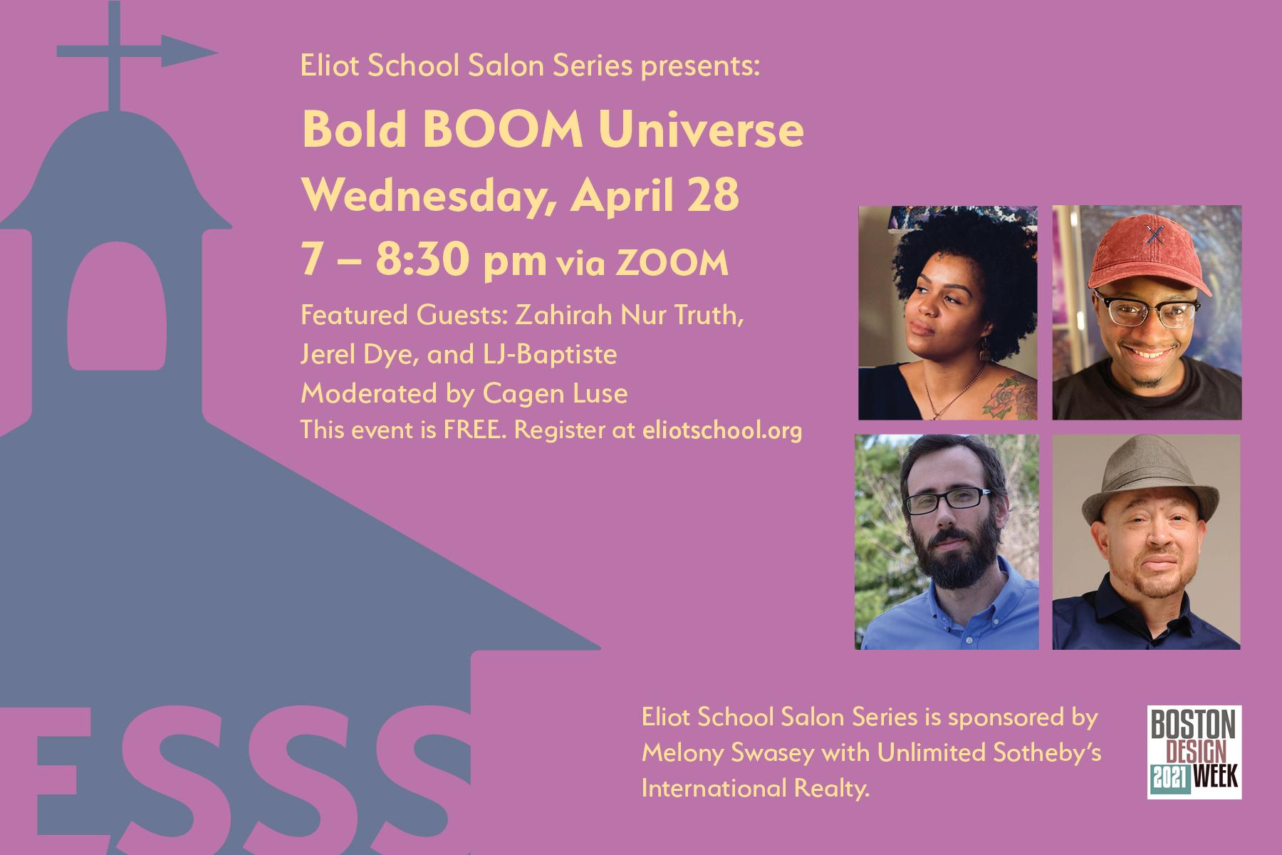 Eliot School Salon Series Bold Boom Universe Flyer